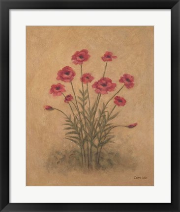 Framed Bunch of Red Poppies Print