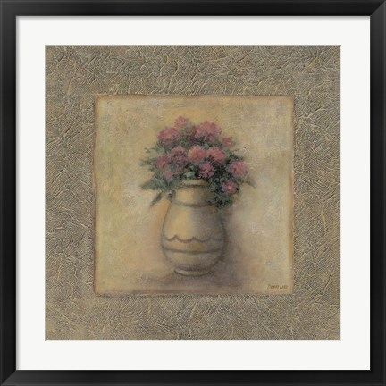 Framed Red Flowers In Vase 2 Print