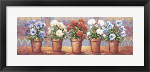 Framed Row Of Flower Pots - A Print