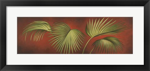 Framed Palms On Burgundy 2 Print