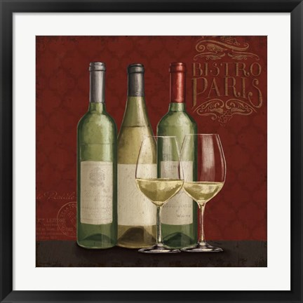 Framed Bistro Paris White Wine Print