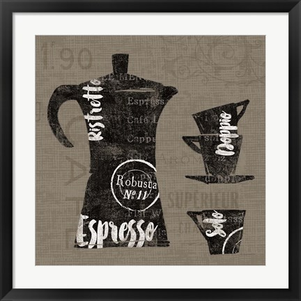 Framed Linen Coffee I Print