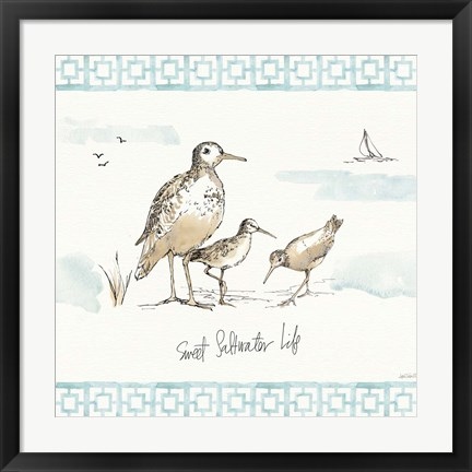 Framed Sandpiper Sea I Print