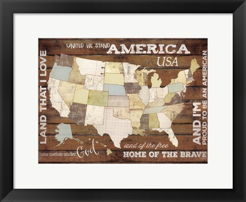 Framed Land That I Love USA Map Print