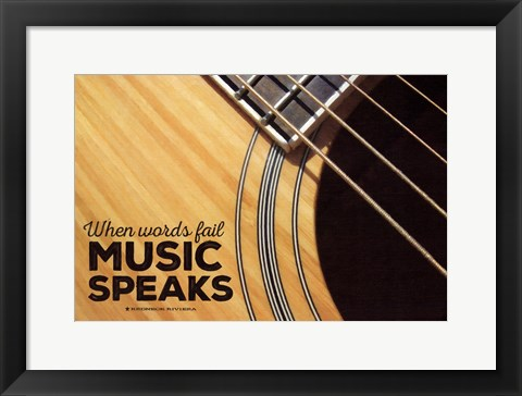 Framed Music Speaks Print