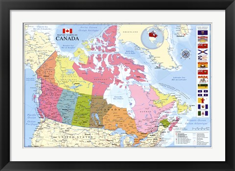 Framed Map Of Canada Print