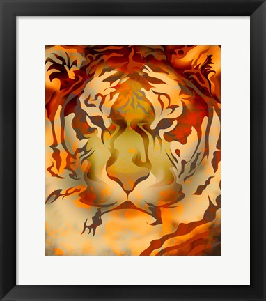 Framed Fiery Colored Tiger Head Print