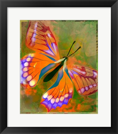 Framed Beautiful Red Butterfly Print