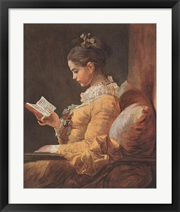 Framed Girl Reading Print
