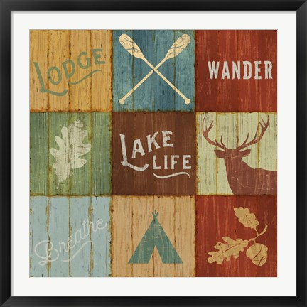 Framed Lake Lodge VII Print