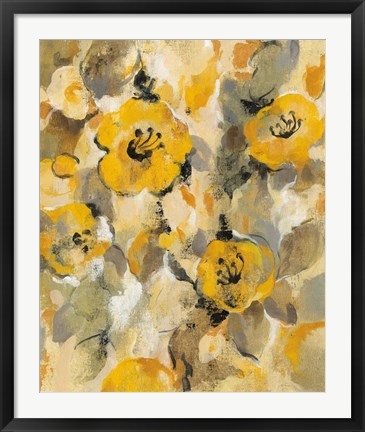 Framed Yellow Floral I Print