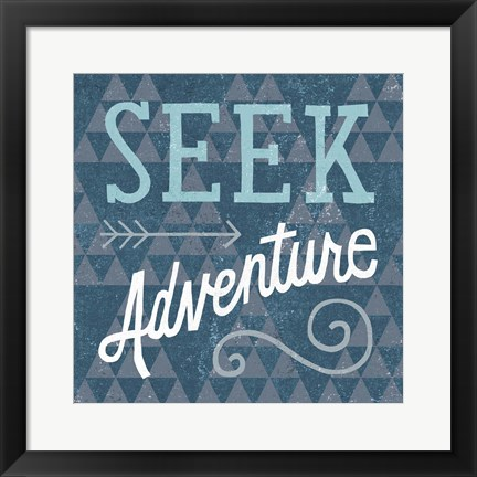 Framed Mod Triangles Seek Adventure Blue Print