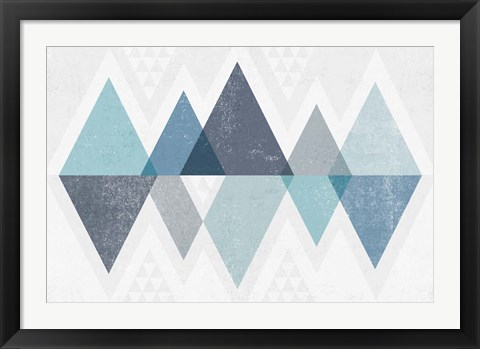 Framed Mod Triangles II Blue Print