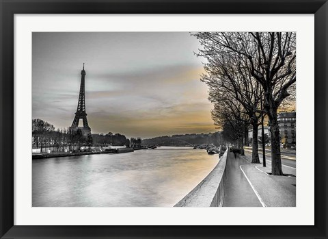 Framed River Seine And The Eiffel Tower Print