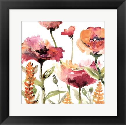 Framed Blooms And Greens Print