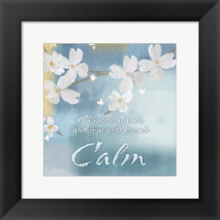 Framed Blue Floral Inspiration IV Print