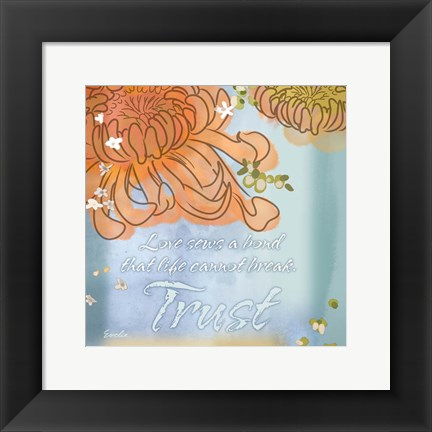 Framed Blue Floral Inspiration VI Print