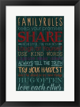 Framed Spice Family Rules I Print