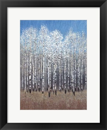 Framed Cobalt Birches I Print