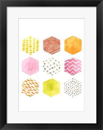 Framed Honeycomb Patterns II Print