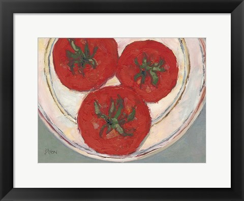 Framed Plate with Tomato Print