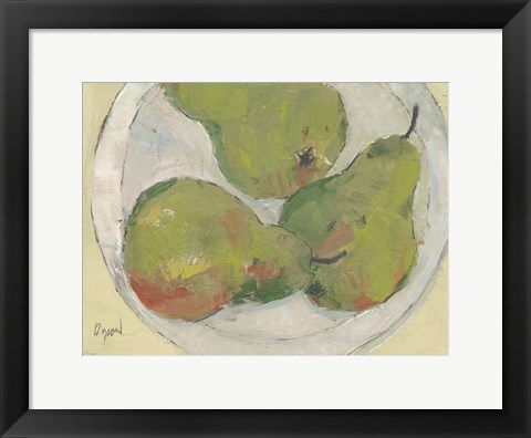 Framed Plate with Pear Print