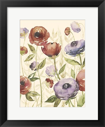 Framed Jeweltoned Blossoms I Print