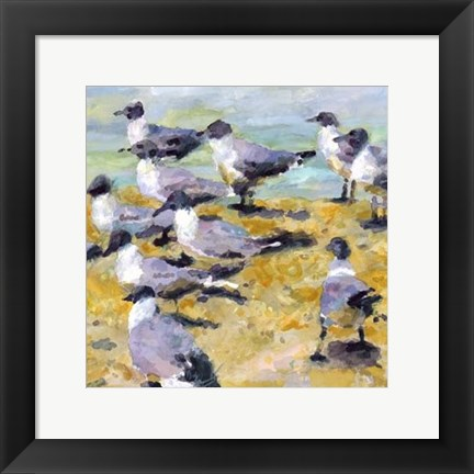 Framed Sea Birds Watercolor I Print