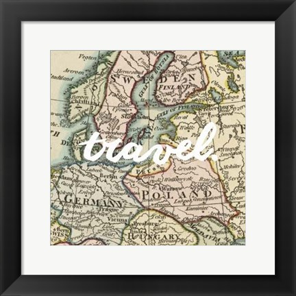 Framed Map Words IV Print