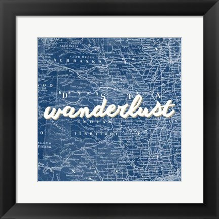 Framed Map Words VII Print