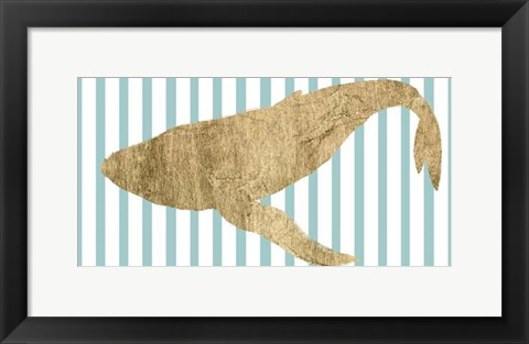Framed Pin Stripe Whale II Print