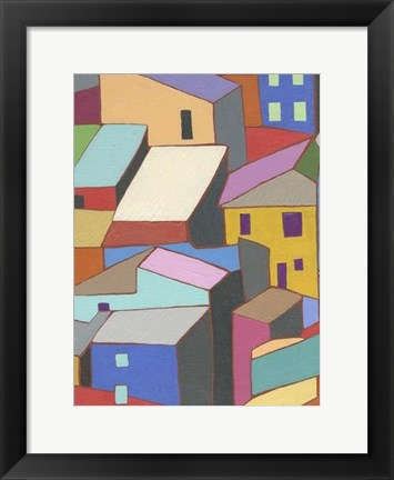 Framed Rooftops in Color II Print