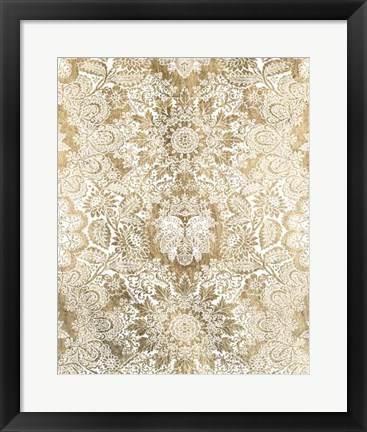 Framed Baroque Tapestry in Gold II Print