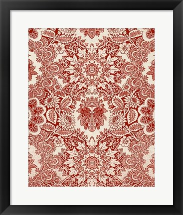 Framed Baroque Tapestry in Red I Print