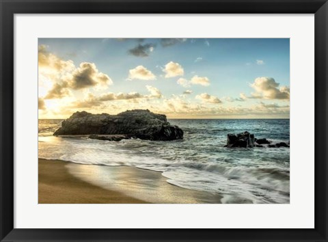 Framed Sunset at Lumahai Beach Print