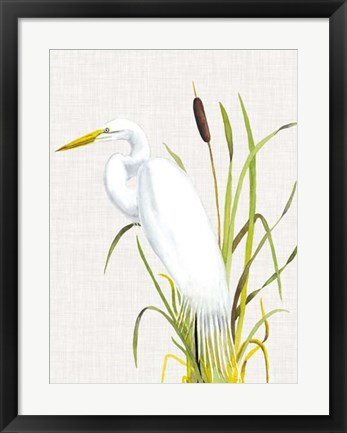 Framed Waterbirds & Cattails IV Print