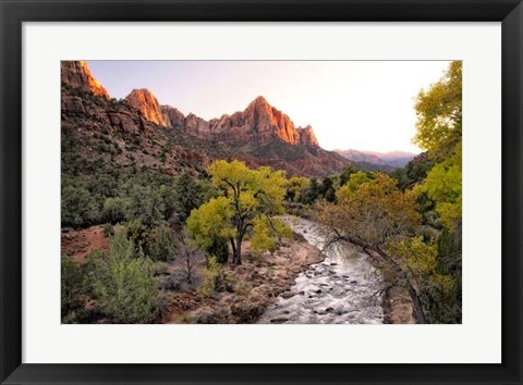 Framed Sunset on the Watchman I Print