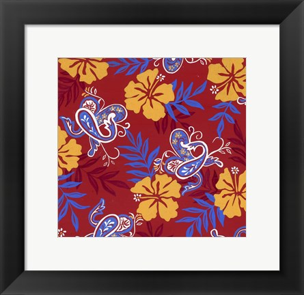 Framed Red Paisley Print