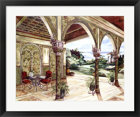 Framed Golden Villa By The Sea Print