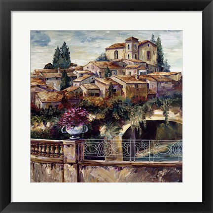 Framed Village By The Stream Print