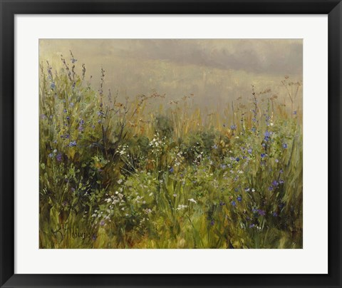 Framed Wildflowers in the Mist Print