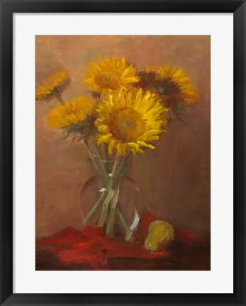 Framed Sunflowers and Red Cloth Print