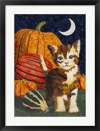 Framed Calico Kitten & Pumpkins Print