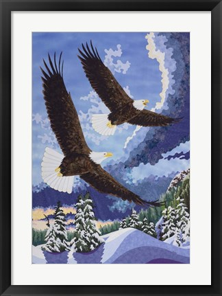 Framed Soaring Over Cloth Mountain Print