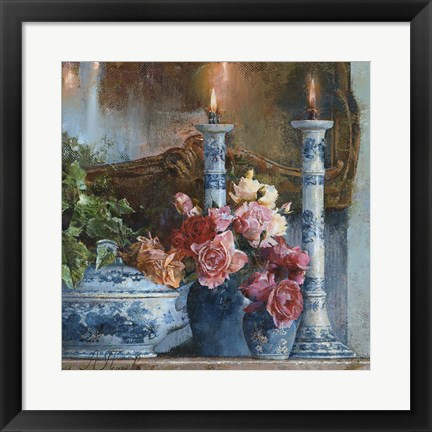 Framed Still Life With Candles Print