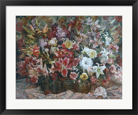 Framed Flowers on Checkered Tablecloth Print