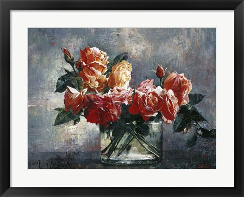 Framed Roses in Glass Print