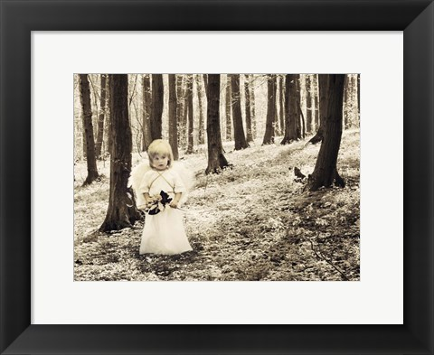 Framed Angel in the Forest Print
