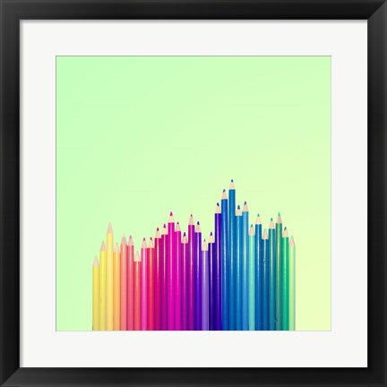 Framed Candy-Colored Pencils Print