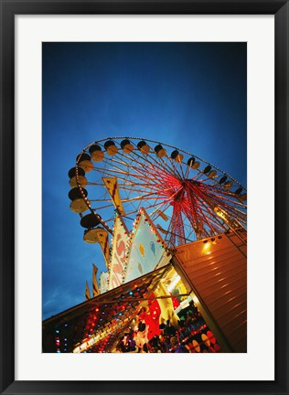 Framed Ferriswheel Lit up At Night Print